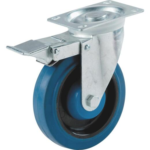 Shepherd 4 In. Elastic Rubber General-Duty Swivel Plate Caster with Brake