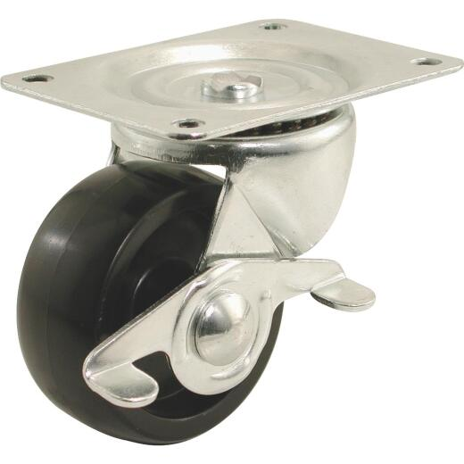 Shepherd 2 In. General-Duty Polypropylene Swivel Plate Caster with Brake