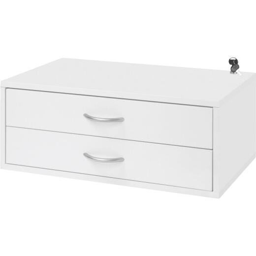 FreedomRail Double Hung 2-Drawer White Organization Box