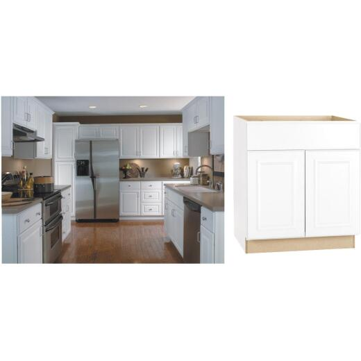 Continental Cabinets Hamilton 30 In. W x 34-1/2 In. H x 24 In. D Satin White Maple Sink/Cooktop Base Kitchen Cabinet