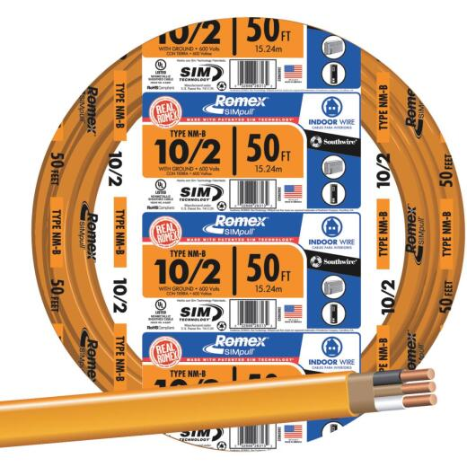 Romex 50 Ft. 10-2 Solid Orange NMW/G Wire