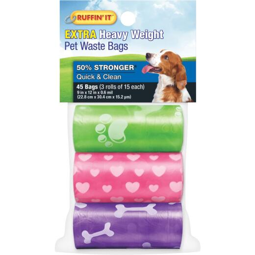 Ruffin' it 9.5 In. W. x 13.5 In. H. Multi-Color Pet Waste Bag (45-Pack)
