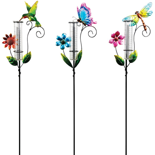 Alpine 36 In. H. Metal Stake Decorative Glass Rain Gauge
