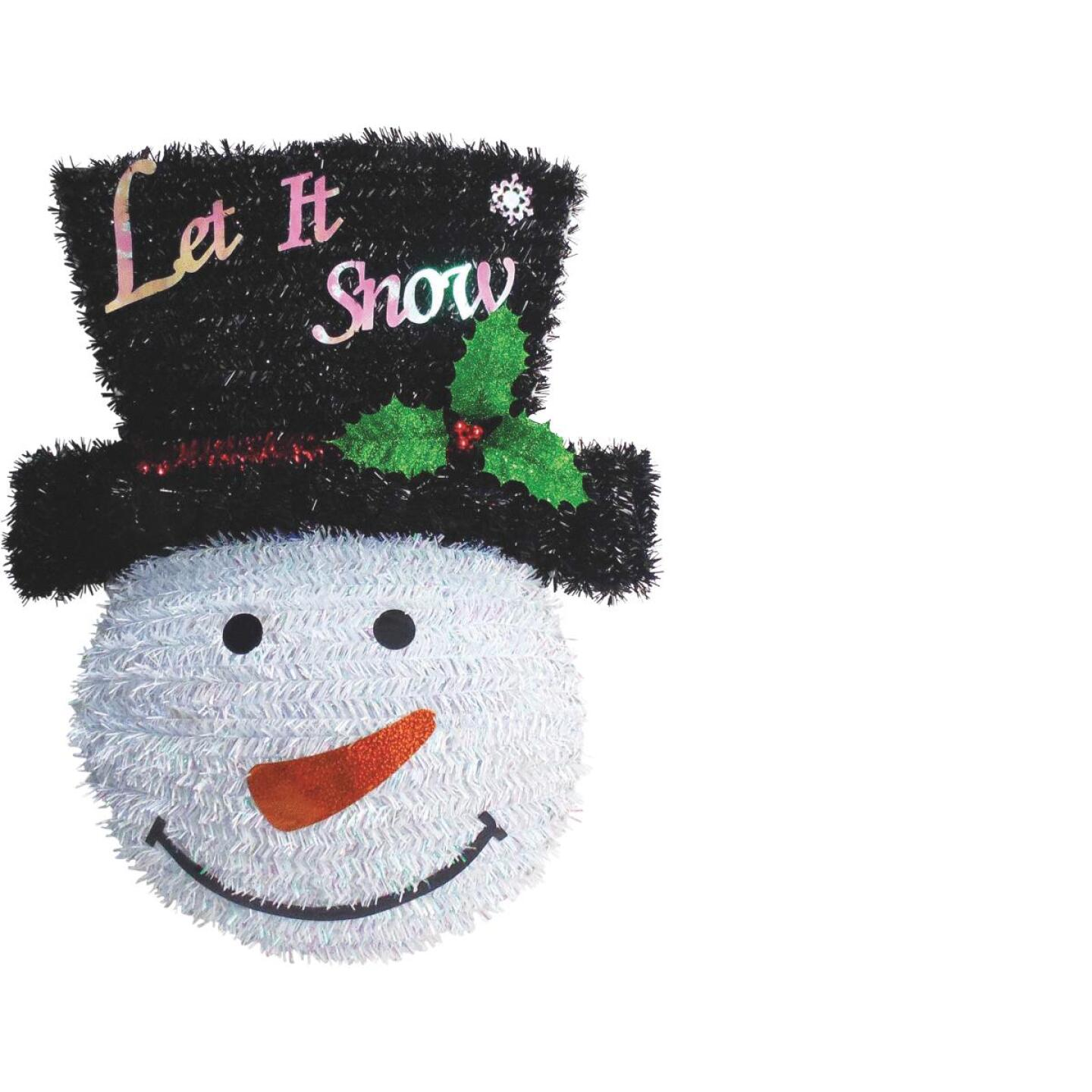 Youngcraft 18 In. White, Black, & Red Snowman Tinsel Wreath Image 1