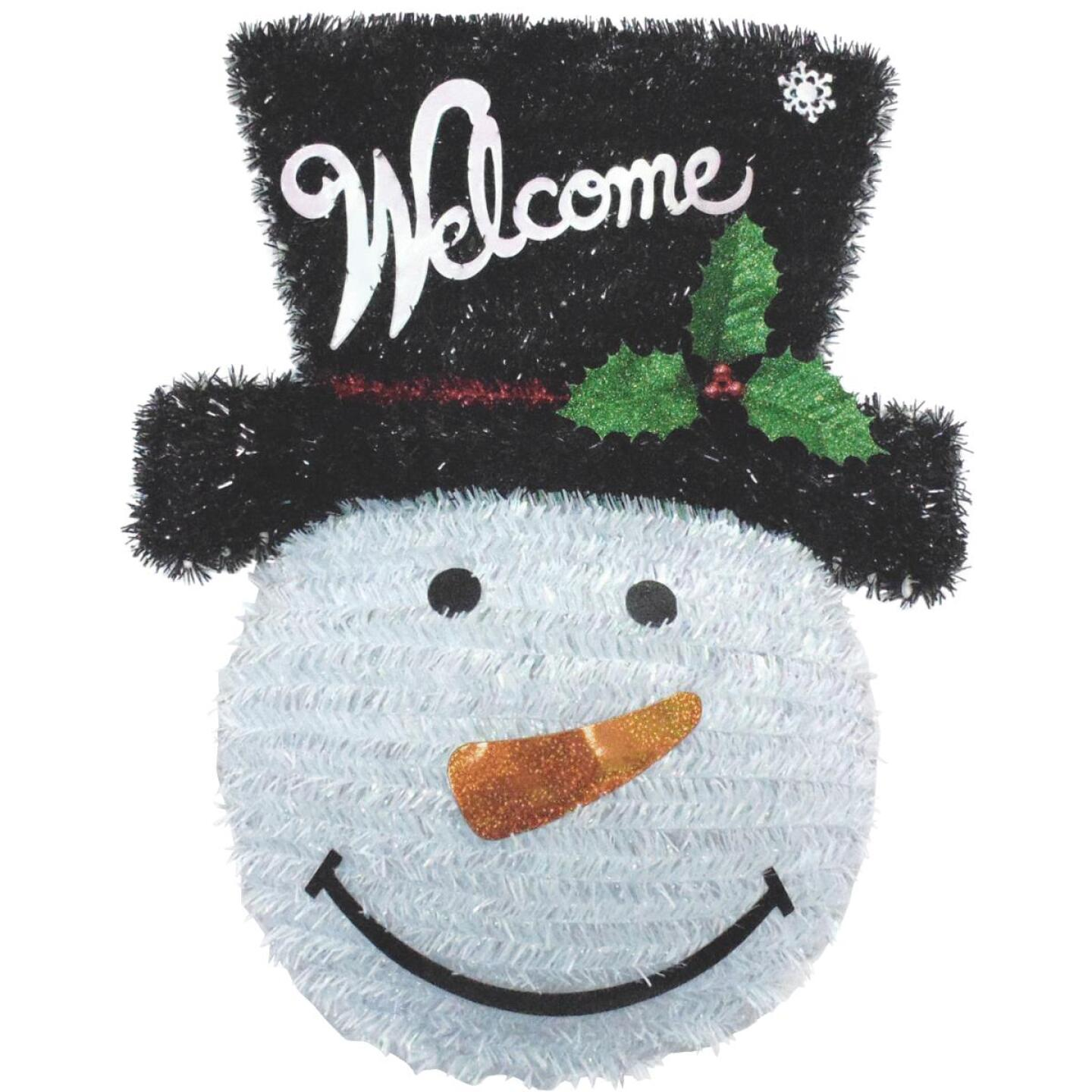 Youngcraft 18 In. White, Black, & Red Snowman Tinsel Wreath Image 2