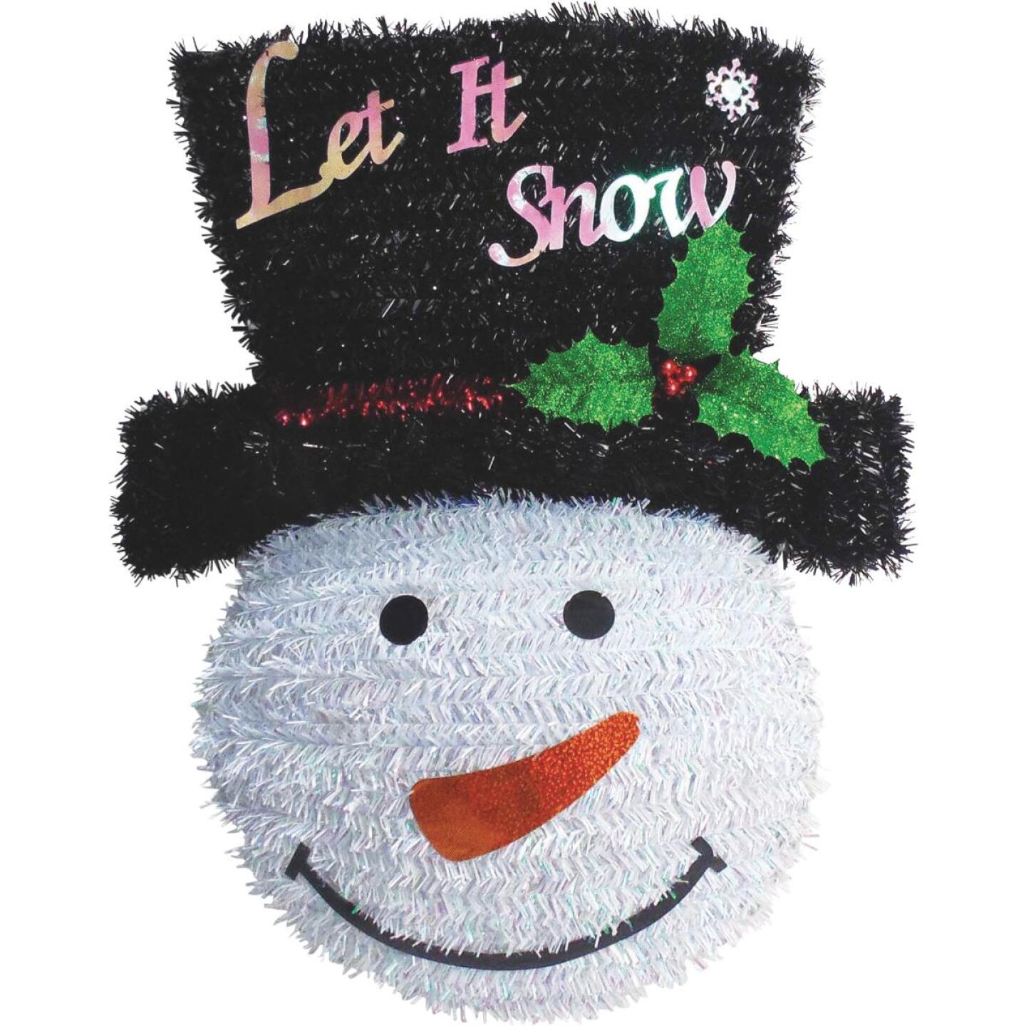 Youngcraft 18 In. White, Black, & Red Snowman Tinsel Wreath Image 3