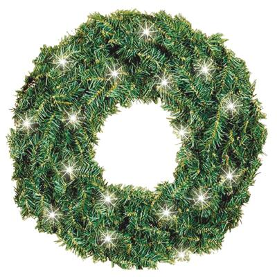 Gerson 24 In. 50-Bulb Clear Incandescent Canadian Pine Prelit Wreath
